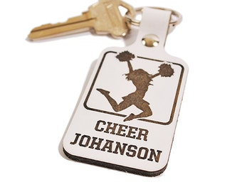PERSONALIZED Keyring - Cheerleader Design - Laser Engraved Leather