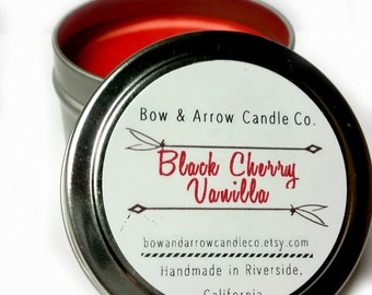 2 oz Natural Soy Candle Cherry Vanilla Scented | 2 oz Tin Candle | Cherry Scented | Vanilla Scented Candle | Cherry Vanilla | Gift Idea