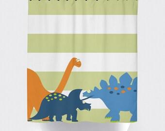 shower curtain, dinosaur shower curtain, kids shower curtain,  shower curtain, boy shower curtain, home decor