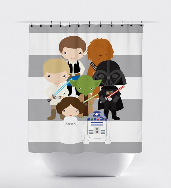 star wars shower curtain, fabric shower curtain, little kid character ...