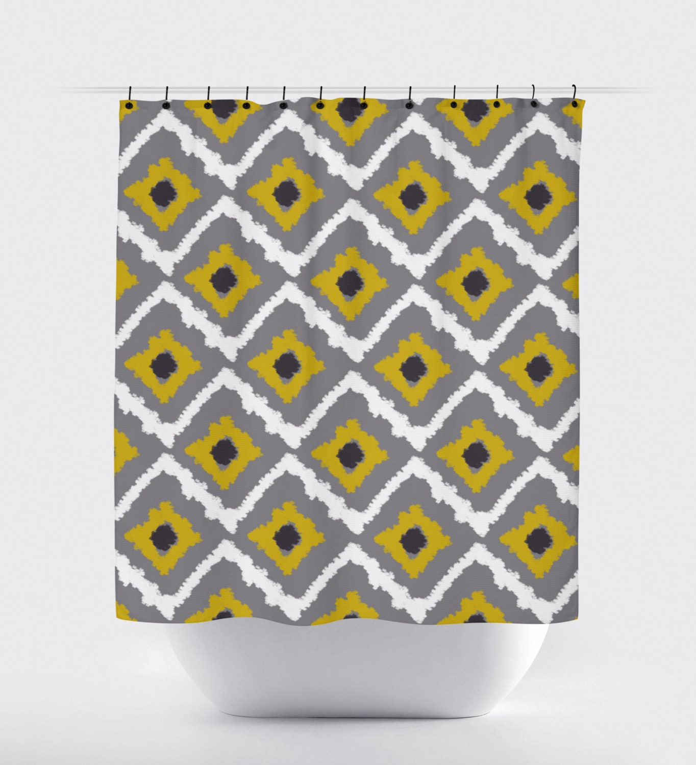 gray and mustard yellow fabric shower curtain aztec shower