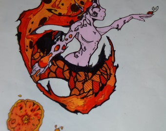 Hand drawn and hand painted Cell Art. off of my original artwork of a Ladybug Fairy