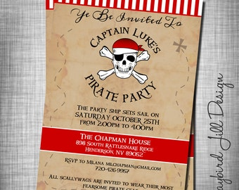 Pirate Birthday Invitation, Pirate Birthday Invite, Neverland Pirates