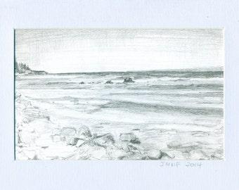 original landscape drawing, Mahoney's, graphite on paper 4x6