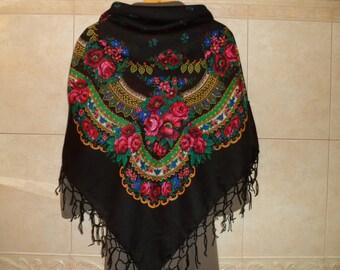 """SALE! Vintage Ukrainian Shawl, Russian Shawl, Floral Shawl, Black Shawl, Shawl With Tassels.50""""x48"""" (127cm x 122cm)  Wool, Acrylic."""