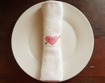 Napkin Rings, Vintage Paper - Custom Initials - Wedding Reception, Bridal Shower, Anniversary Party