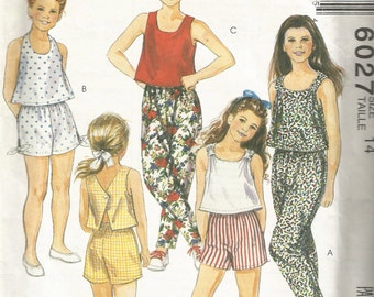 6027 Free US Shipping Uncut Factory Folded Vintage McCall's Sewing Pattern Girls' and Chubbies'  Size 14 Tops and Pants or Shorts