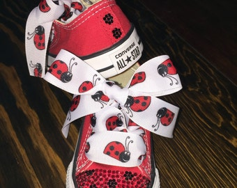 Lady bug bling converse, bling converse, Swarovski bling converse, lady bug shoes