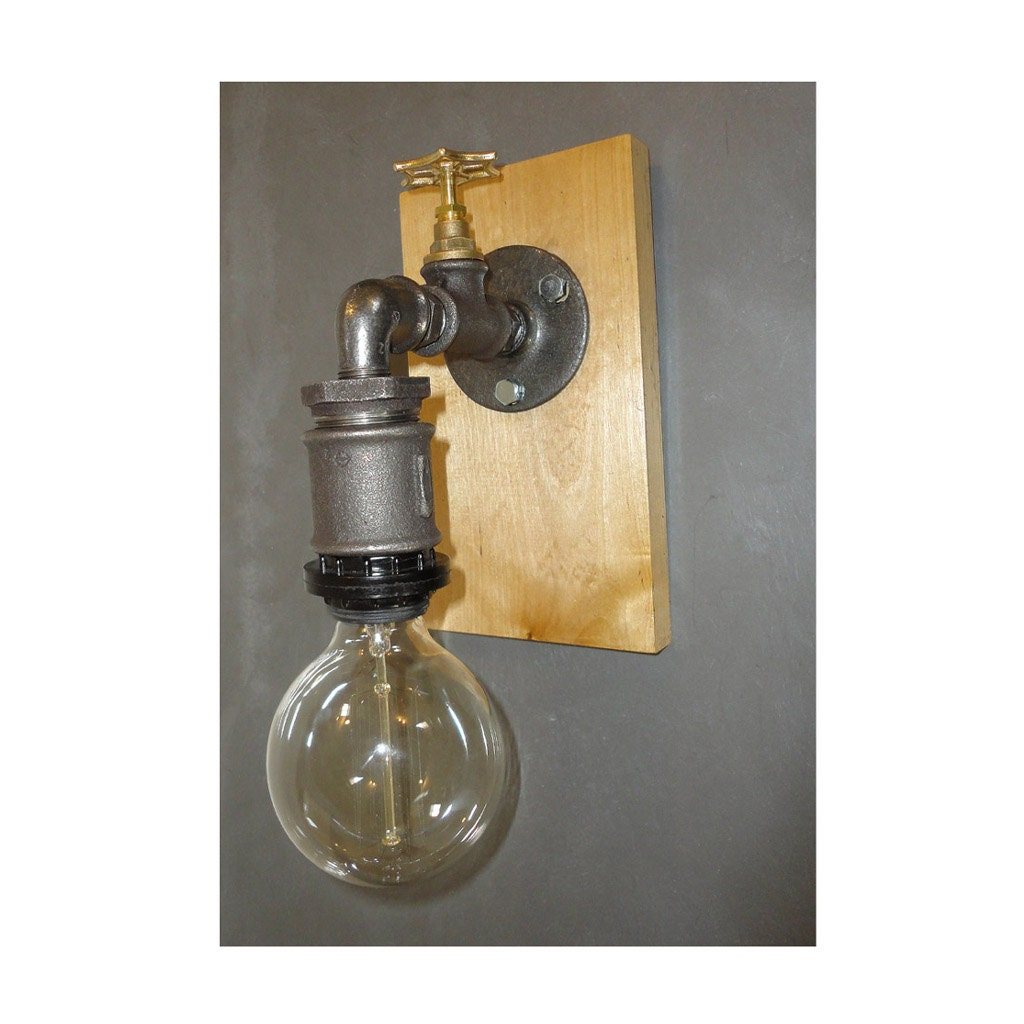 Black Pipe Wall Sconces : Wall Sconce Jar Light Black Water Iron Pipe by HandMadeProjects4u