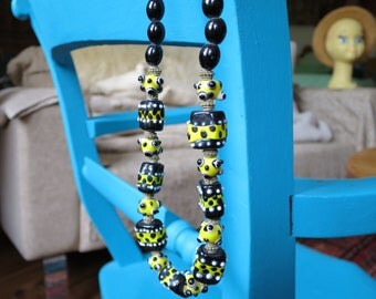 Playful, Black and Yellow Spotty Lampwork Necklace, Made My Me