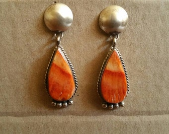 Vintage Spiny Oyster Teardrop Earrings