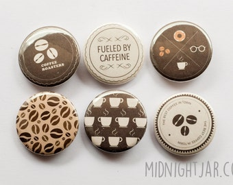Coffee-lover / caffeine-addict - set of 6 button badges (25mm)