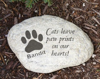 Personalized Cats Leave Paw prints on our Hearts Pet Cat Memorial Garden Stone