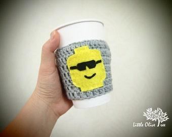 Lego sunglasses coffee cozy, lego cup cozy, lego cup holder, lego coffee sleeve, lego coffee cup holder, lego coffee cup sleeve