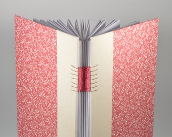 A5 Pink Leaves / Blank Notebook / Hard Cover / Hand Bound / Weaving Bound / Dairy