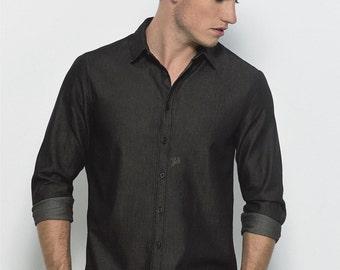 Men's shirt 100% organic cotton Fairtrade Black Denim
