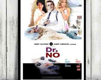 JAMES BOND - Dr. No - movie poster / print [ Sean Connery, Ursula Andress, Joseph Wiseman ]