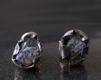 Diamond Studs, Grey Raw Diamond Earrings, Gold Studs, Sterling Silver Earrings, Rough Diamond Earrings