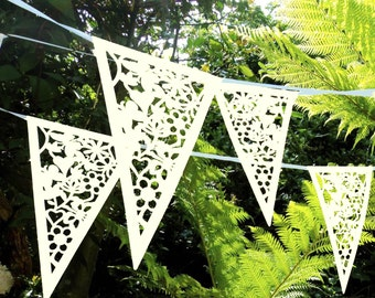 Cream Lace Bunting Wedding Heart Bunting Banner Garland Party Floral Bunting