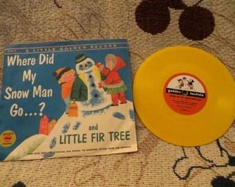 A Little Golden Record: Little Fir Tree...Where Did My Snow Man Go? (1954) Simon & Schuster/New York, Sandpiper Press, Mitch Miller, too!