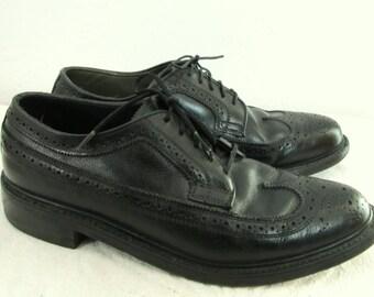 30% Off SaLE@@Men's Vintage 70's,SHARP Black Leather WINGTIP Shoes By DEXTER.9D