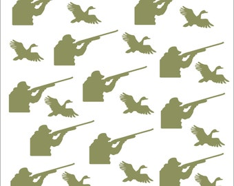 Hunter and Duck Sticker Combo, Removable, Vinyl, Redneck, Tumbler, Stickers, Invitaion, Embellishment, Scrapbooking, Boy, Hunter, Man, Gun