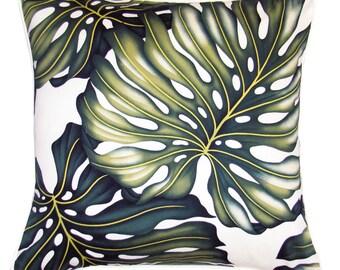 Hawaiian Tropical cushion cover Monstera Leaf Beach Coastal