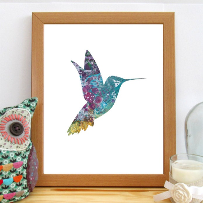 Hummingbird print nursery decor hummingbird art printable for Hummingbird decor