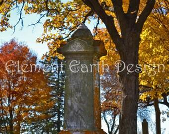 Cemetery Monument, Instant Download, 11x14, Digital Printable, Fine Art Digital Photo, Photography, headstone, grave, gravestone, autumn