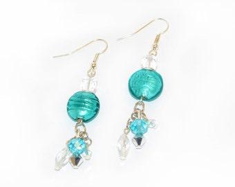 Aqua Earrings, teal earrings, dangle, sparkle, fashion earrings, fashion accessory