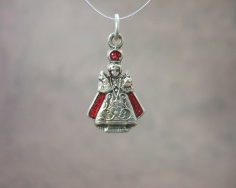 Infant Jesus of Prague Red Enamel Catholic Pendant Medal with prayer. Vintage from 1950's
