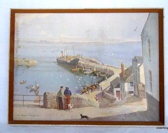 Vernon Ward Vintage Print: Unloading Newlyn Harbour Ward picture paint collectible Ward paint