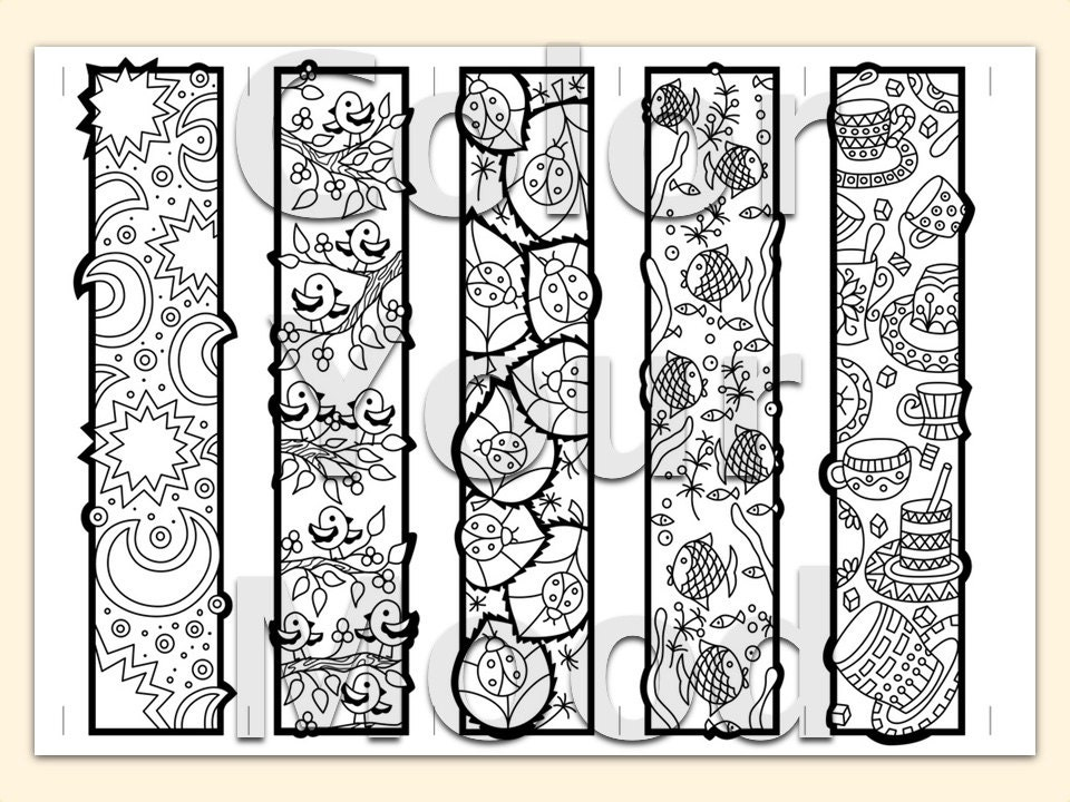 Comprehensive image inside printable bookmarks to color