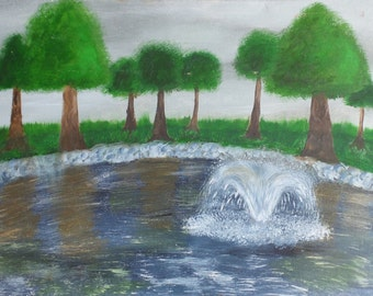 impressionist fountain oil painting