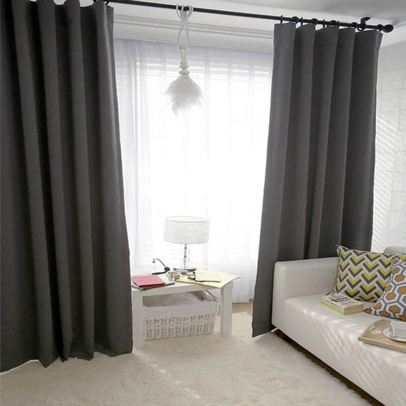 Blackout de gris fonc simple rideau rideaux panneau par enapremium for Rideaux pour salon noir blanc
