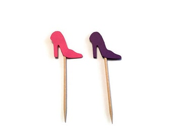 24 pink and purple high heel toothpicks,wedding shower, birthday decor, bachelorette, appetizer picks, food picks, cupcake toppers