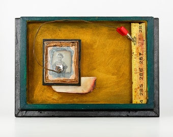 24 Pulses - Original Mixed Media Assemblage Art Piece with Daguerreotype and Found Objects. Signed.