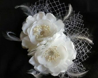 Handmade one of a kind French tulle Diamond Flower Hair Comb accessory