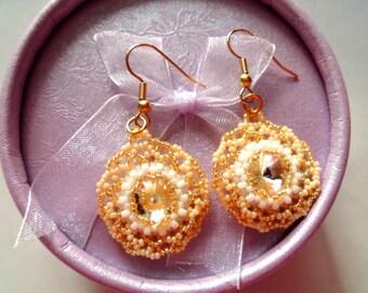 Swarovski earrings, Swarovski bridal earrings, Evening jewelry, Bridal earrings, Dangle crystal earrings, Gold earrings, Long earrings