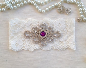 wedding garter, ivory lace bridal garter, purple rhinestone
