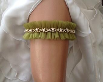 wedding garter, olive green bridal garter, pearl/rhinestone/gold