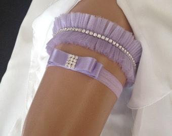 wedding garter set, lilac bridal garter set, lilac bow, crystal rhinestone, gold/silver