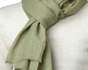Wool and linen, plant dyed scarf BREEZ (green )