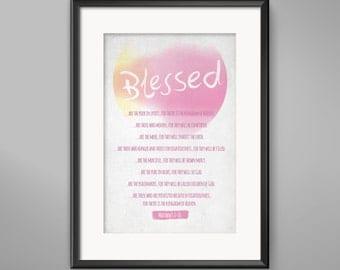 INSTANT DOWNLOAD - Matthew 5 - The Beatitudes Bible Verse Wall Art