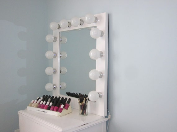hollywood style lighted vanity mirror slim edition w convenient on. Black Bedroom Furniture Sets. Home Design Ideas