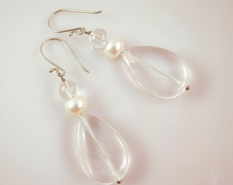 Rock crystal quartz and white freshwater pearl drop earrings in sterling silver