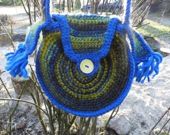 "Crocheted handbag, shoulder bag ""Lazuli"" high maintainability, felt wool"