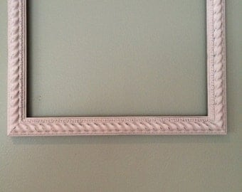 Frame, Wooden, Hand Painted with Annie Sloan Antoinette, Pale Pink, Chalk Paint, Oversized and Distressed, hatchtx