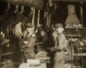 """Lewis Hine Photo """"Boys on the midnight shift, glassworks"""" 1908, Indiana"""