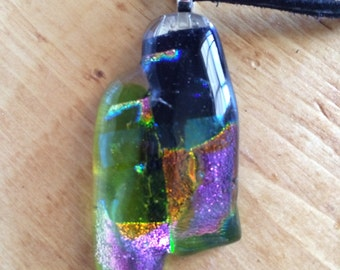 Green, black, pink, orange dichroic fused glass pendant